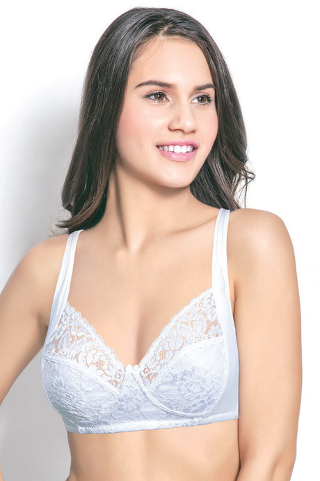 57dfb838ac Buy Enamor Lace Grace Non Padded Non Wired Bra-White at Rs.395 ...