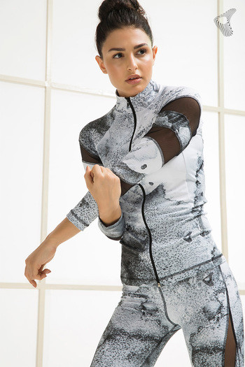 model image of Zelocity Body Hugging Abstract Printed Jacket- White
