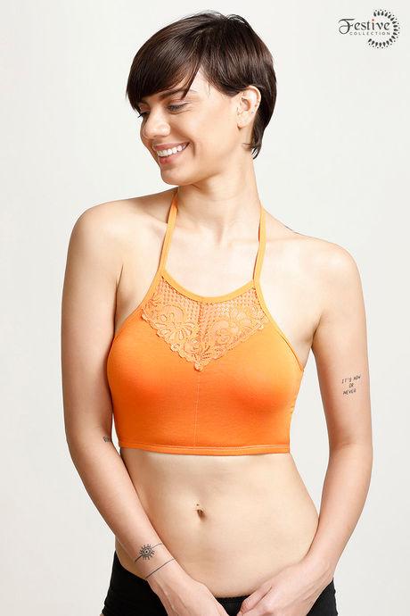 1af6d47563 Buy Zivame Made-to-Layer Halter Neck Lace Bralette- Orange at Rs ...