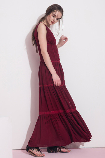 Zivame Fine Morning Layered Tier Maxi Dress- Maroon