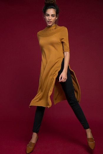model image of Zivame Knitted Sweater Top- Mustard