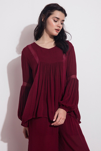 Zivame V Neck Lantern Sleeved Top- Maroon