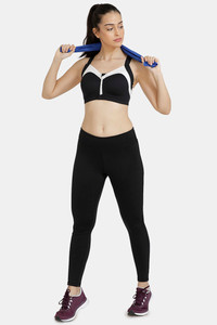 Buy Zelocity High Impact Padded Wide Waist Band Sports Bra - Black