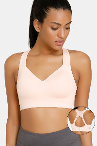 Buy Zelocity High Impact Padded Wide Waist Band Sports Bra - Skin
