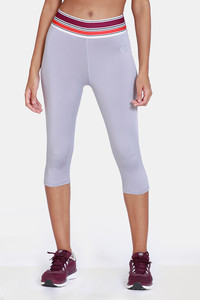 Buy Zelocity  High Rise Nouveau Shine Capri - Grey
