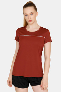 a931305977725 Zelocity Easy Movement T-Shirt With Mesh Detailing - Brown