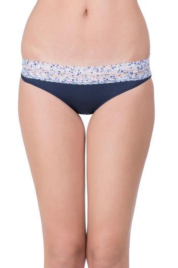 Zivame Super Soft Lace Kissed Hipster Panty- Blue Floral