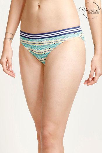Zivame Whimsical Low Rise Bikini Panty- Blue N Print