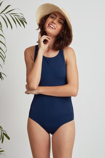 Zivame Super Smooth Racerback Swimsuit- Navy Blue