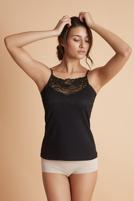 9747e17c61 Buy Zivame High Neck Lacy Camisole- Black at Rs.321 online ...