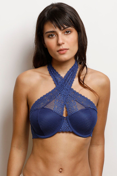 f95e4f8748 Buy Zivame Moroccan Lace Halter Neck Wired Bralette- Blue at Rs.1036 ...