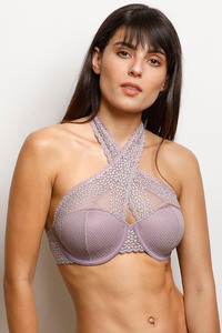 94a5054ca778f Buy Zivame Moroccan Lace Halter Neck Wired Bralette- Lilac at Rs.907 ...