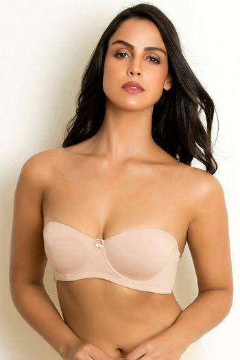 model image of Zivame Beautiful Basics Wired Strapless Bra - Skin