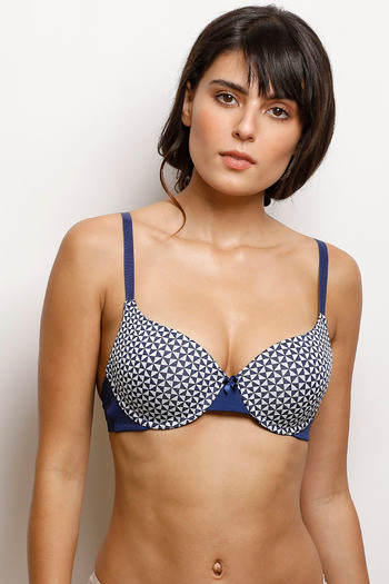 baf6475295e72 Buy Zivame Moroccan Lace Moderate Lift Underwired Bra- Navy n Print ...