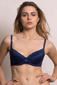 Buy Zivame Moroccan lace Padded Wired 3/4th Coverage T-Shirt Bra-Blue Depths