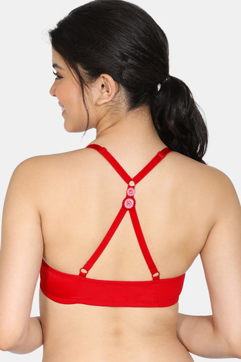 model image of Zivame Modern Grounds Push Up Wired Medium Coverage Pretty Back Bra - Lipstick Red