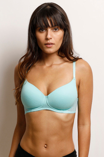 Zivame Lightly Padded Wirefree Bra- Aqua
