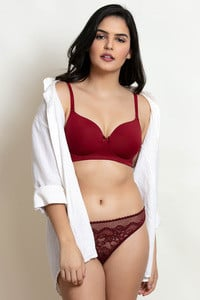Buy Zivame Padded Wireless T Shirt Bra Maroon