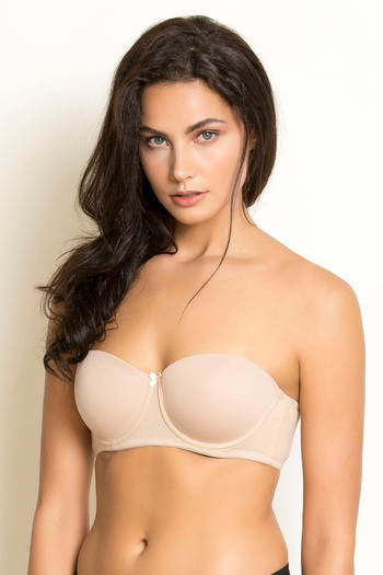 model image of Zivame Padded Wired 3/4th Coverage Strapless Bra-Nude