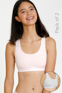 Buy Zivame GRL Double Layered Non Wired 3/4th Coverage Bra-Pink Grey