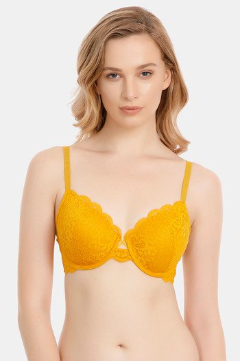 23ebb0519 Buy Zivame Vintage Lace Padded Wired Bra - Yellow
