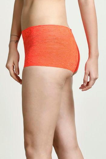 018dd9b1efc5d Buy Zivame All That Lace Boyshort Panty- Neon Orange at Rs.242 ...