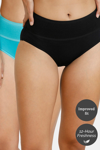 Zivame  Pack of 2  Tummy Tucker Hipster High Rise Anti Microbial Panty   Black Ceramic