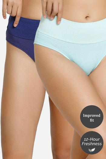 Zivame Mid Rise Tummy Tucker Panty  Pack Of 2    Blue Aqua Sky