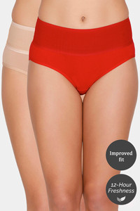 Buy Zivame (Pack of 2) Tummy Tucker Hipster High Rise Anti-Microbial Panty - Red Skin