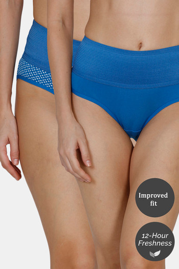 Zivame  Pack of 2  Tummy Tucker Hipster High Rise Anti Microbial Panty   Blue Classic Blue