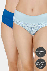 Buy Zivame (Pack of 2) Tummy Tucker Hipster High Rise Anti-Microbial Panty -Classic Blue Water
