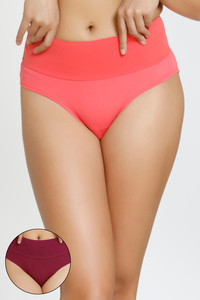 29507730037 Buy Zivame Mid Rise Tummy Tucker Panty (Pack Of 2) - Purple Coral