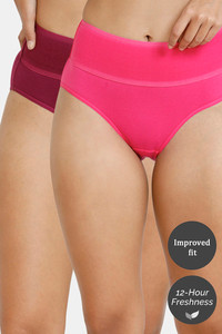 Buy Zivame (Pack of 2) Tummy Tucker Hipster High Rise Anti-Microbial Panty - Purple Pink