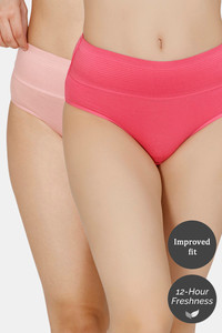 Buy Zivame (Pack of 2) Tummy Tucker Hipster High Rise Anti-Microbial Panty - Rose Dove