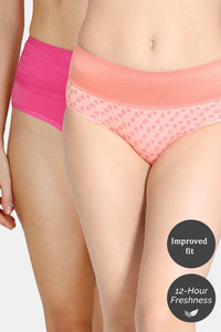 Buy Zivame (Pack of 2) Tummy Tucker Hipster High Rise Anti-Microbial Panty - Rose Peach Amber