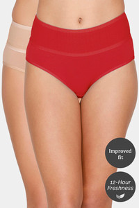 Buy Zivame (Pack of 2) Tummy Tucker Hipster High Rise Anti-Microbial Panty - Red Roebuck