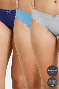 Buy Zivame (Pack of 3) Bikini Low Rise Anti-Microbial Panty - Blue Pacific Grey