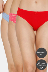 Buy Zivame (Pack of 3) Bikini Low Rise Anti-Microbial Panty - Fruit Blue Cherry