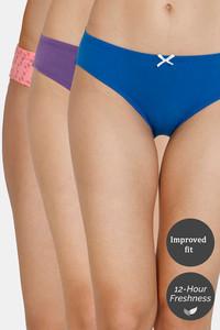 Buy Zivame (Pack of 3) Bikini Low Rise Anti-Microbial Panty - Peach Palace Blue