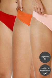 Buy Zivame (Pack of 3) Bikini Low Rise Anti-Microbial Panty - Red Orange Peach