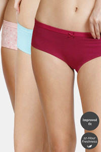 Buy Zivame Low Rise Anti-Microbial Hipster Panty (Pack of 3 ) -  Raspberry Aqua Daisy
