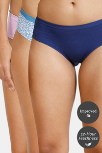 923e37c0bec84 Zivame Anti-Microbial Low Rise Hipster Panty (Pack Of 3) - Violet Navy  Ditsy Blue