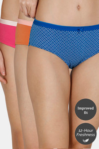 Buy Zivame (Pack of 3) Hipster Low Rise Anti-Microbial Panty - Blue Mango Rose