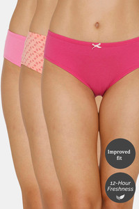 Buy Zivame (Pack of 3) Hipster Low Rise Anti-Microbial Panty - Peach Rose Glory