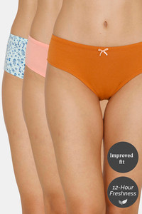 Buy Zivame (Pack of 3) Hipster Low Rise Anti-Microbial Panty - Water Mango Peach