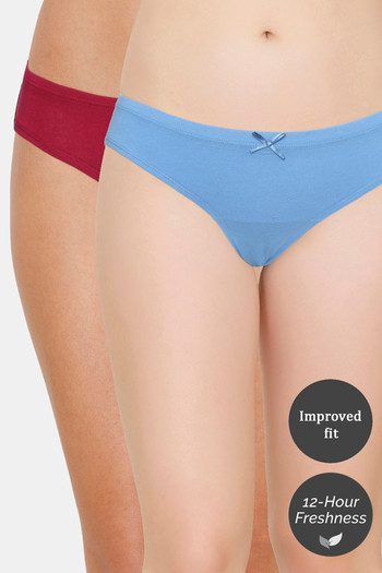 Zivame  Pack of 2  Bikini Low Rise Anti Microbial Panty   Red Blue
