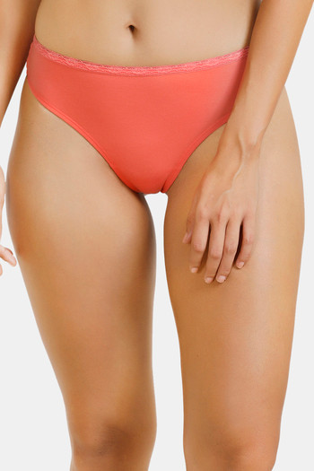 model image of Zivame Low Rise Cotton Gusset Thong - Peach