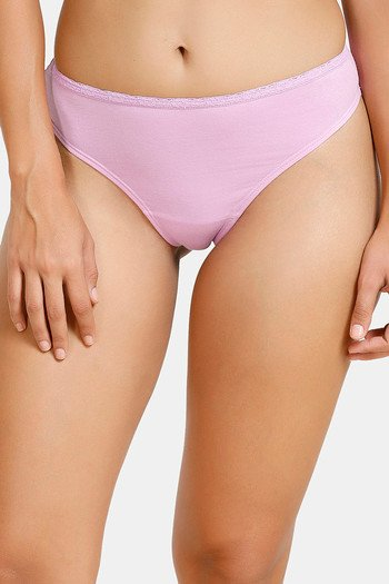 model image of Zivame Low Rise Cotton Gusset Thong - Violet