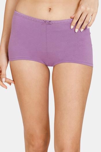 model image of Zivame Mid Rise Full Coverage Antimicrobial Boy Short Panty -Chinese Violet