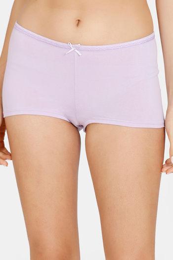 model image of Zivame Mid Rise Full Coverage Antimicrobial Boy Short Panty -Lavendula